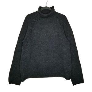Vtg J Crew 100% Wool Rollneck Fisherman Sweater L Black Oarsman